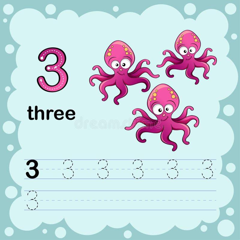 Onderwijsillustratie leren om een aantal drie te tellen en te schrijven Aantekenvel voor kleuterschool en kleuterschool octopus vector illustratie