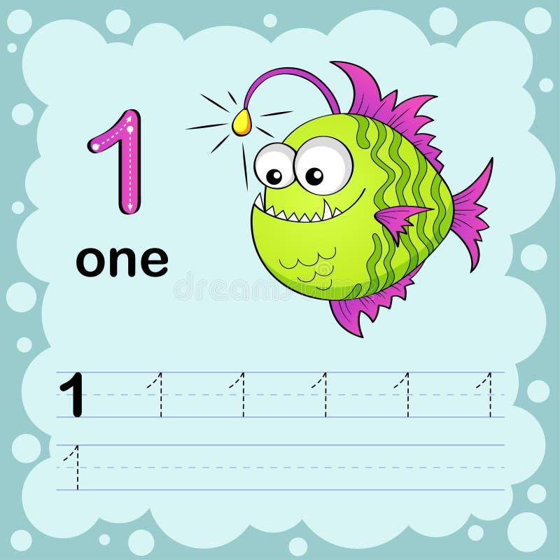 Onderwijsillustratie leren om een aantal te tellen en te schrijven Aantekenvel voor kleuterschool en kleuterschool Monkfish stock illustratie