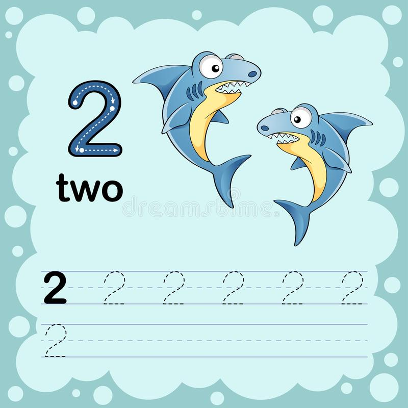 Onderwijsillustratie leren om een aantal twee te tellen en te schrijven Aantekenvel voor kleuterschool en kleuterschool Haai stock illustratie