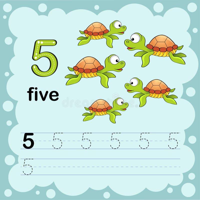 Onderwijsillustratie leren om een aantal vijf te tellen en te schrijven Aantekenvel voor kleuterschool en kleuterschool Schildpad vector illustratie