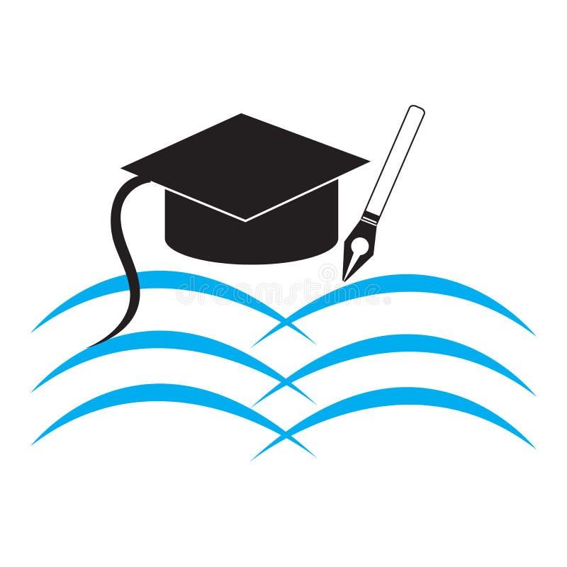 Onderwijsillustratie met geopend boek, togahoed en pen stock illustratie