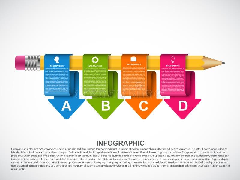 Onderwijsinfographics-malplaatje met gekleurde pijlen stock illustratie