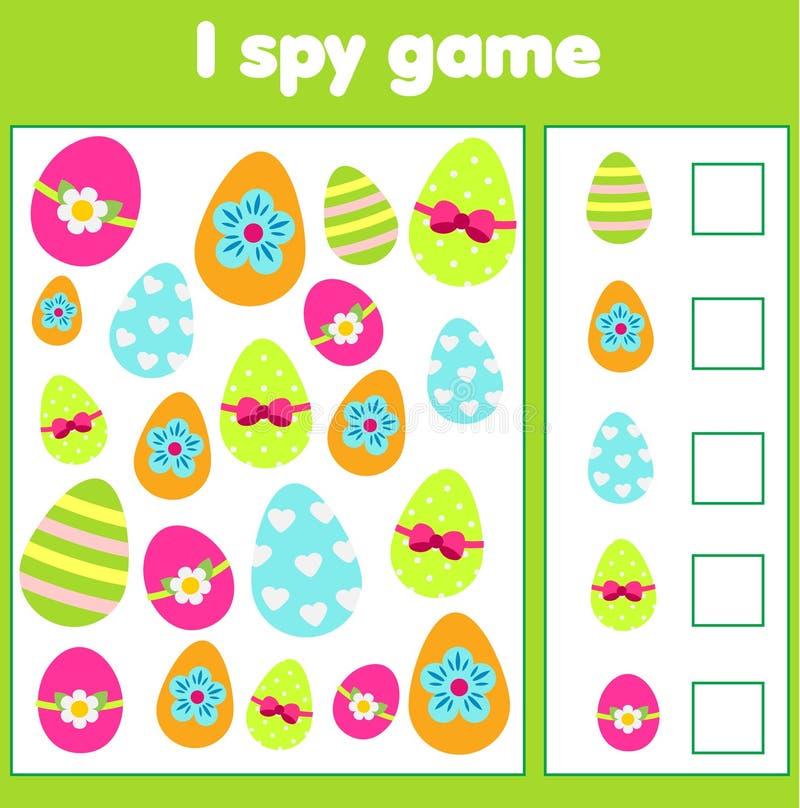Onderwijskinderenspel Ik spioneer blad voor peuters Vind en tel paaseieren stock illustratie