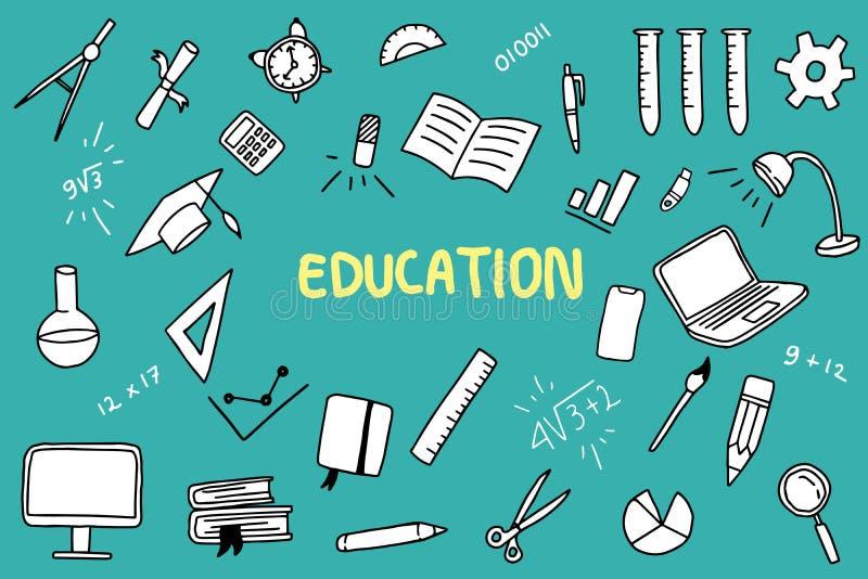 Onderwijskrabbel met kleur en onderwijsvoorwerp zoals de heerser van het notaboek vector illustratie