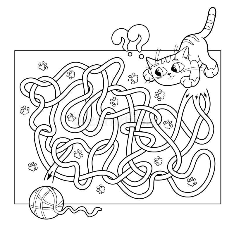 Onderwijslabyrint of Labyrintspel voor Peuterkinderen Raadsel Verwarde Weg Kleurend Paginaoverzicht van kat met bal van garen royalty-vrije illustratie