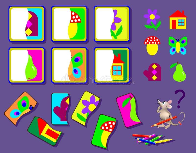 Onderwijspagina voor jonge geitjes Het spel van het logicaraadsel voor kinderen Behoefte om tweede delen van voorwerpen te vinden royalty-vrije illustratie