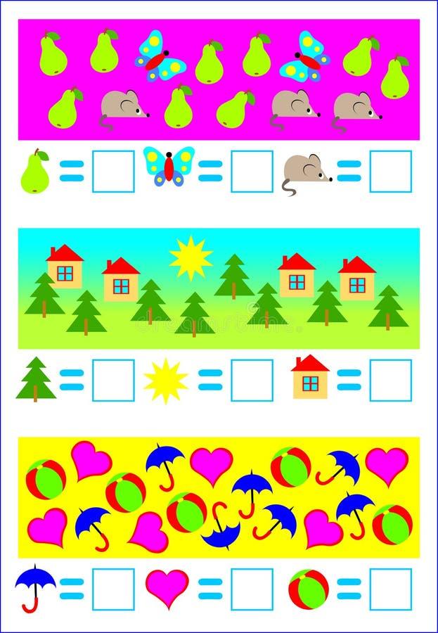 Onderwijspagina voor jonge kinderen Behoefte om de voorwerpen te tellen en overeenkomstige aantallen te schrijven royalty-vrije illustratie