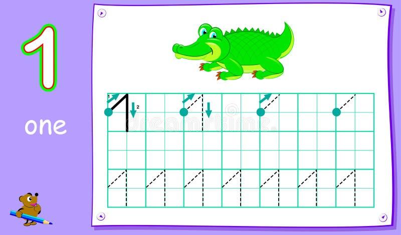 Onderwijspagina voor jonge kinderen met aantal  Het ontwikkelen van vaardigheden voor het schrijven en het tellen stock illustratie