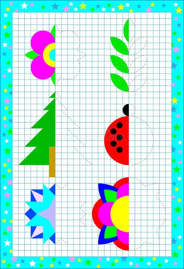 Onderwijspagina voor kinderen op een vierkant document Behoefte om de tweede delen van voorwerpen te trekken die de symmetrie ove royalty-vrije illustratie