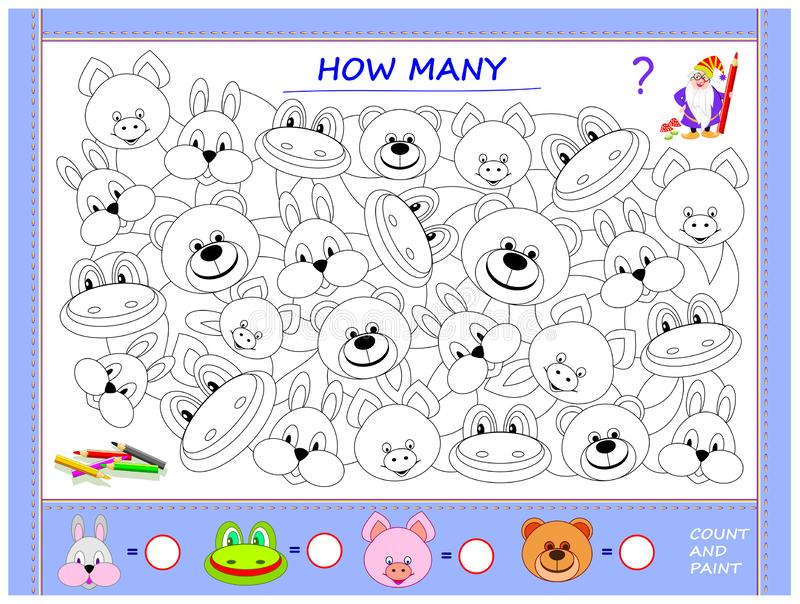 Onderwijspagina voor kleine kinderen op wiskunde Vind dieren, schilder hen, tel de hoeveelheid en schrijf aantallen in cirkels vector illustratie