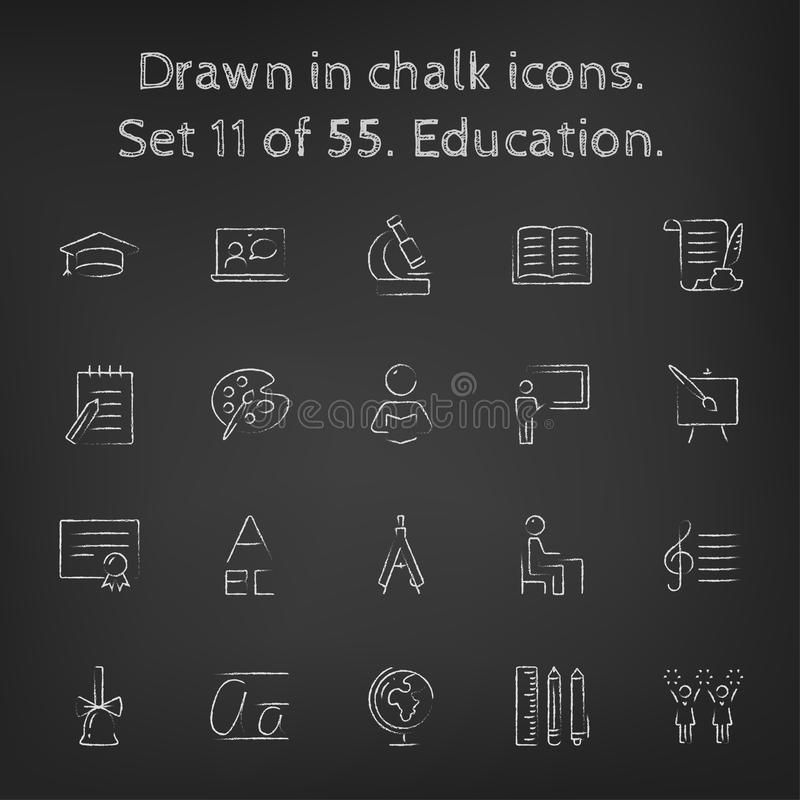 Onderwijspictogram geplaatst die in krijt wordt getrokken vector illustratie