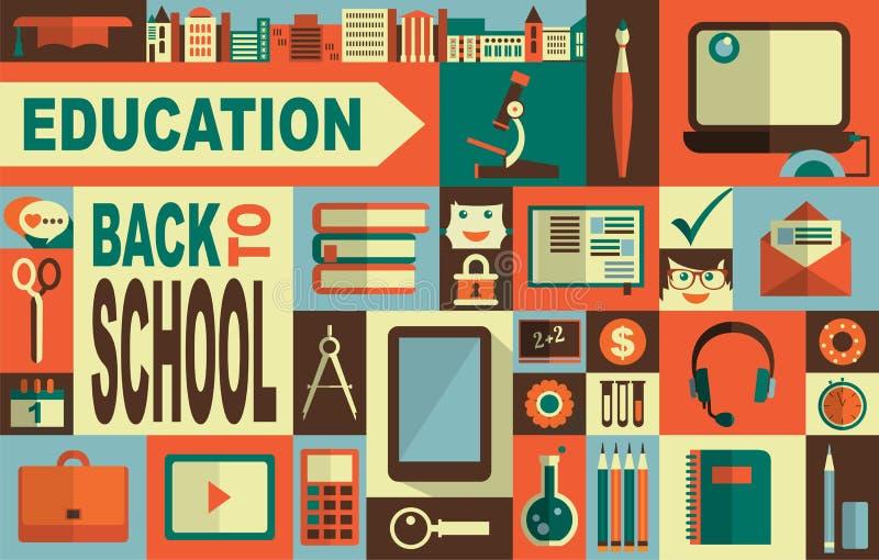 Onderwijspictogrammen royalty-vrije illustratie