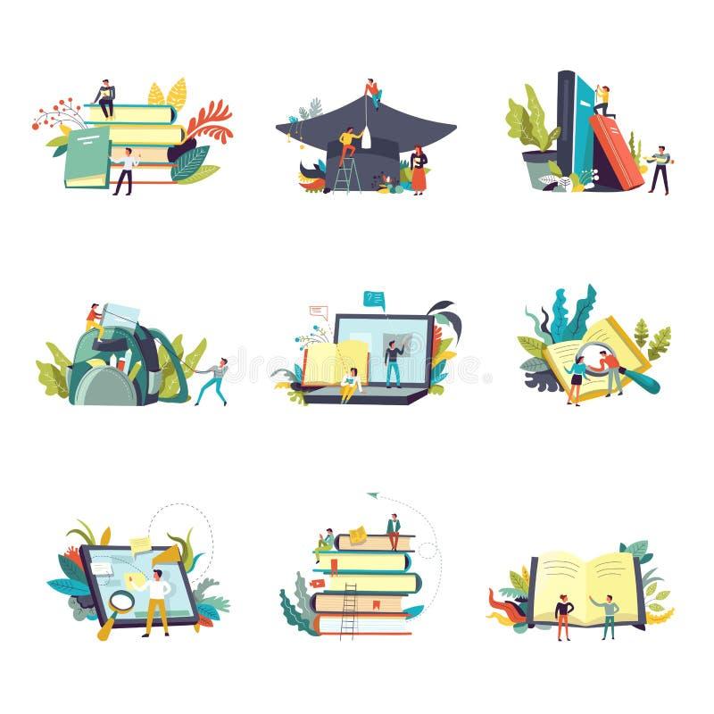 Onderwijspictogrammen en studie die vectormensen leren vector illustratie