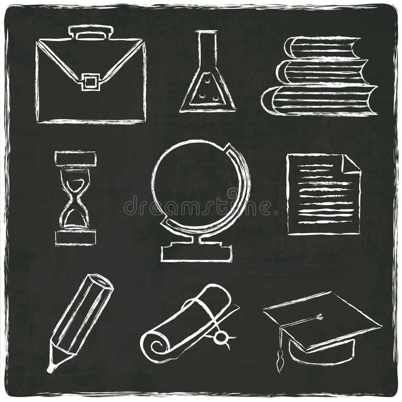 Onderwijspictogrammen op oude zwarte raad worden geplaatst die royalty-vrije illustratie