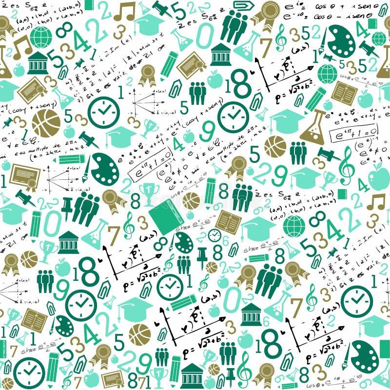 Onderwijspictogrammen terug naar school naadloos patroon. stock illustratie