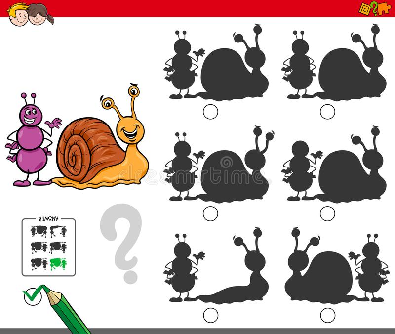 Onderwijsschaduwspel met mier en slak stock illustratie