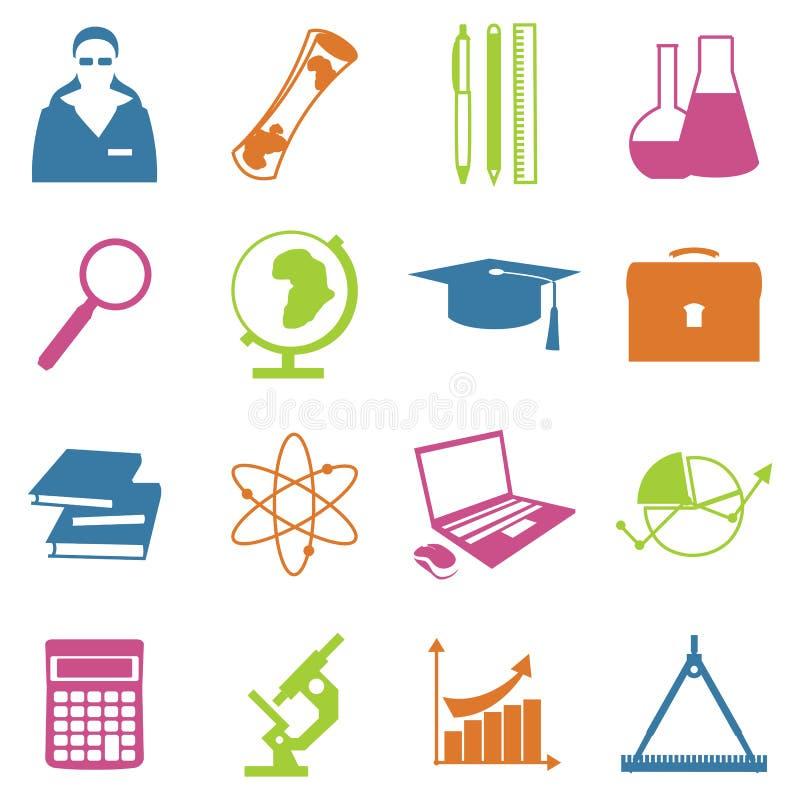 Onderwijsschool worden geplaatst isoleerden de universitaire die het leren pictogrammen met wetenschapselementen vectorillustrati vector illustratie