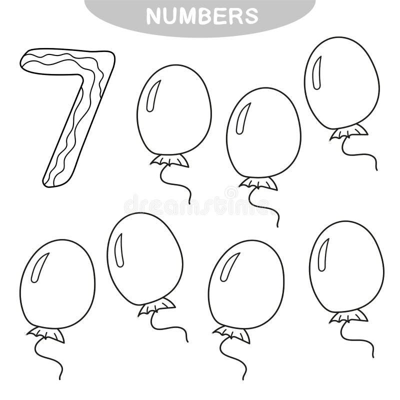 Onderwijsspel - het Leren aantallen Kleurend boek voor peuterkinderen royalty-vrije illustratie