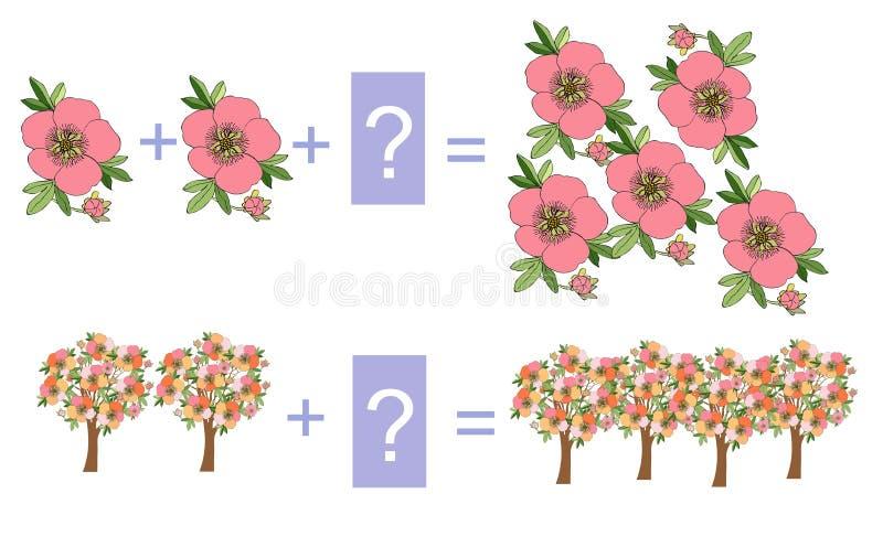 Onderwijsspel voor kinderen Beeldverhaalillustratie van wiskundige toevoeging royalty-vrije illustratie
