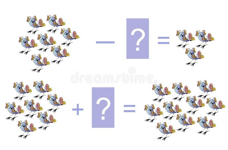 Onderwijsspel voor kinderen Beeldverhaalillustratie van wiskundige toevoeging en aftrekking stock illustratie