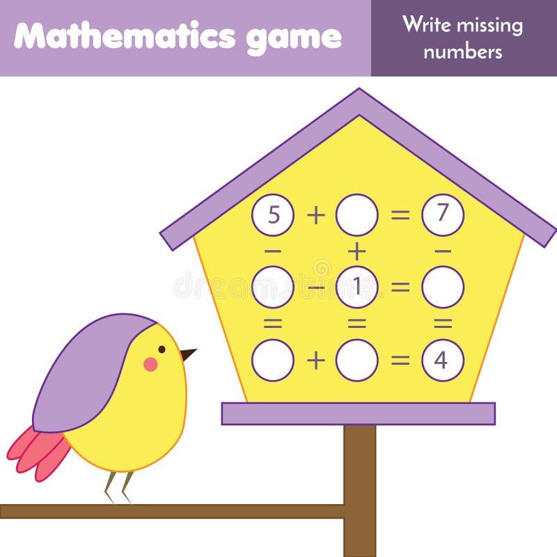Onderwijsspel voor kinderen Tellende vergelijkingen Studieaftrekking en toevoeging Wiskundeaantekenvel royalty-vrije illustratie