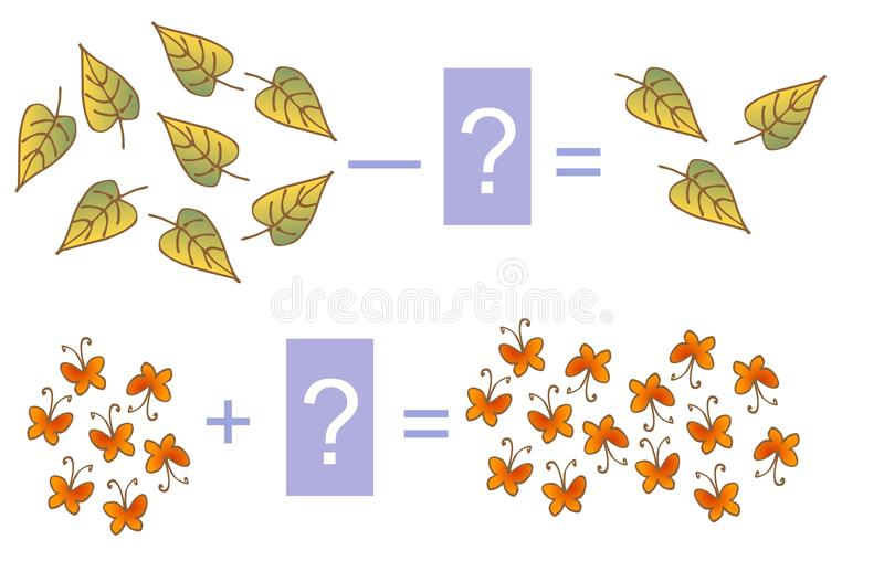 Onderwijsspel voor kinderen Wiskundige toevoeging en aftrekking Voorbeelden met bladeren en vlinders stock illustratie