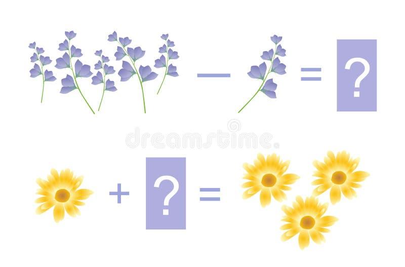 Onderwijsspel voor kinderen Wiskundige toevoeging en aftrekking Voorbeelden met mooie bloemen stock illustratie