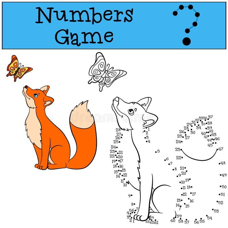 Onderwijsspelen voor jonge geitjes: Aantallenspel De leuke vos bekijkt de vlinder royalty-vrije illustratie