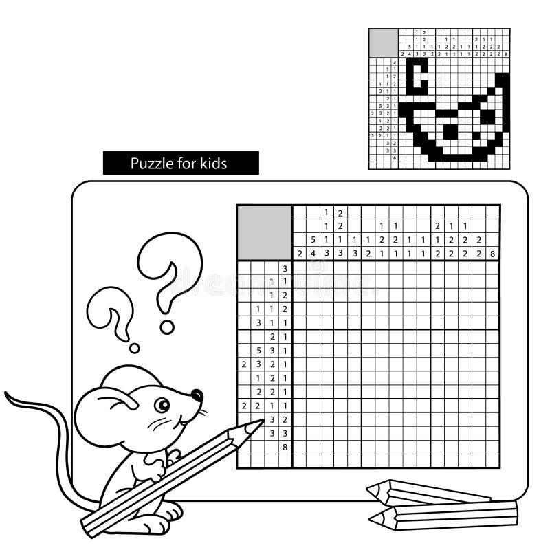 Onderwijsspelen voor jonge geitjes: Aantallenspel Kleurend boek voor kinderen stock illustratie