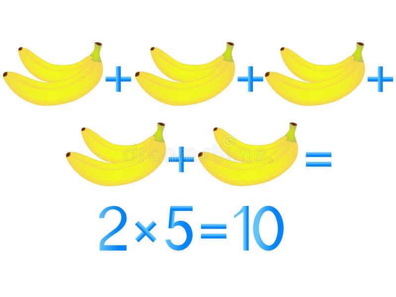Onderwijsspelen voor kinderen, vermenigvuldigingsactie, voorbeeld met bananen stock illustratie