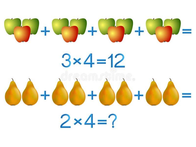 Onderwijsspelen voor kinderen, vermenigvuldigingsactie, voorbeeld met vruchten vector illustratie