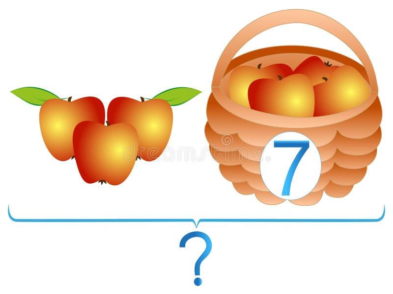 Onderwijsspelen voor kinderen, wiskundige toevoeging, voorbeelden met appelen stock illustratie