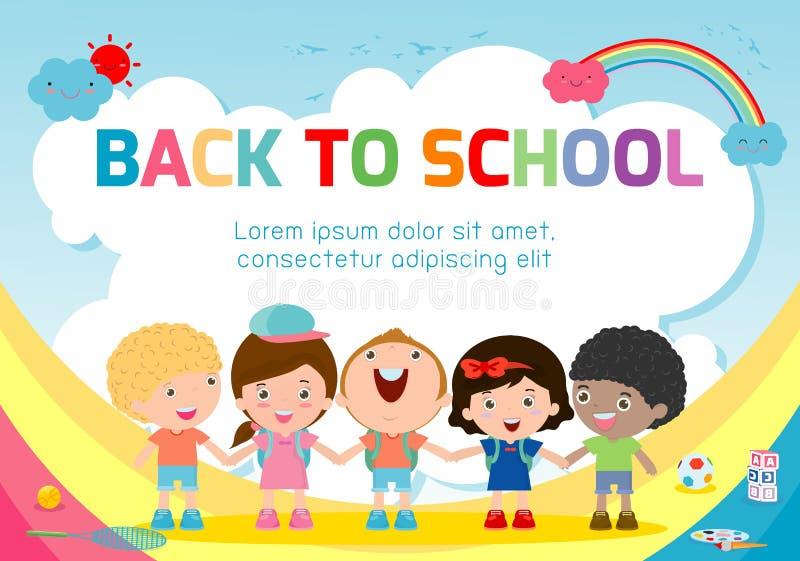 Onderwijsvoorwerp terug naar schoolachtergrond, terug naar school, Jonge geitjes die handen, onderwijsconcept, Malplaatje houden vector illustratie