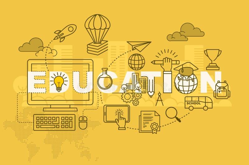 OnderwijsWeb-pagina bannerconcept met dun lijn vlak ontwerp vector illustratie