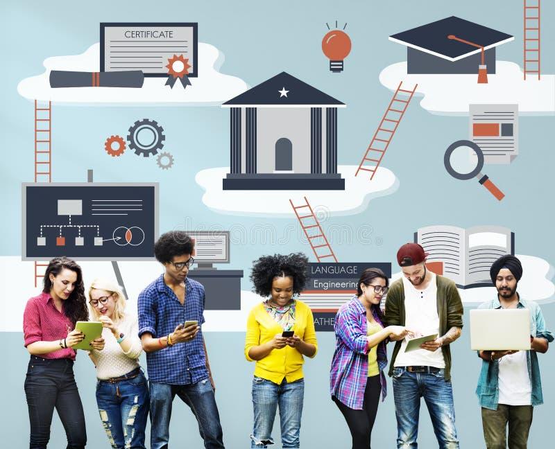 Onderwijswijsheid het Leren het Concept van de Studiesamenwerking stock afbeelding