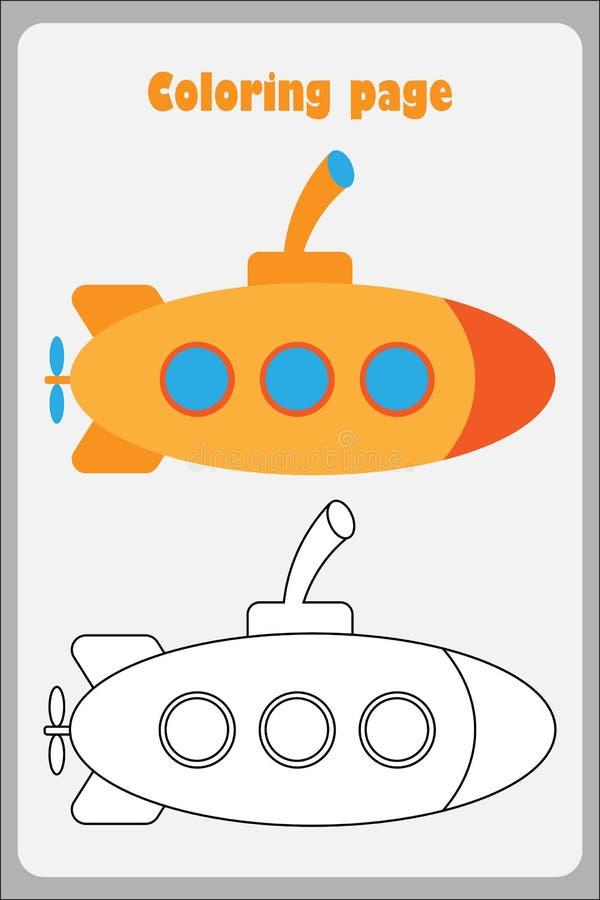 Onderzeeër in beeldverhaalstijl, kleurende pagina, onderwijsdocument spel voor de ontwikkeling van kinderen, jonge geitjes peuter vector illustratie