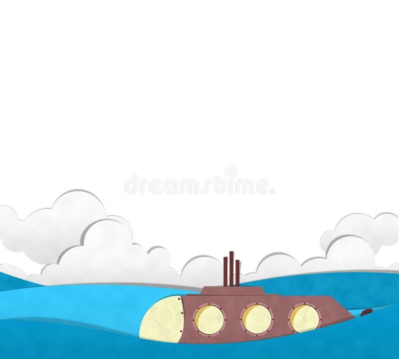 Onderzeeër die op het blauwe overzees duiken stock illustratie