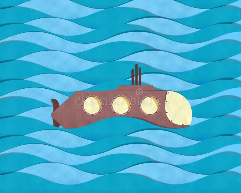 Onderzeeër die op het blauwe overzees duiken royalty-vrije illustratie
