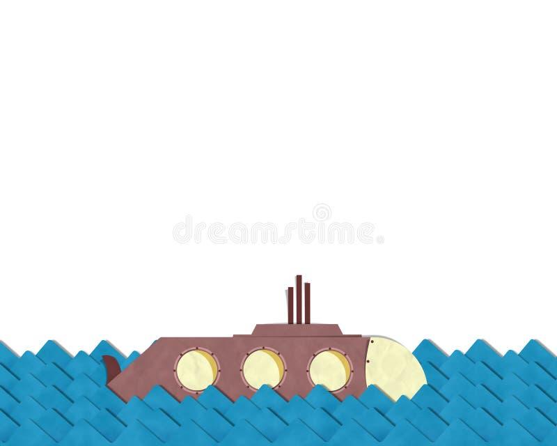 Onderzeeër die op het blauwe overzees duiken vector illustratie