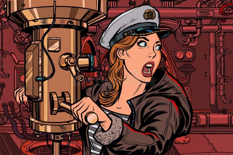 Onderzeeër een vrouwenkapitein, slagalarm royalty-vrije illustratie