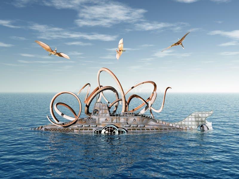 Onderzeeër met Octopus en vliegende Dinosaurussen royalty-vrije illustratie
