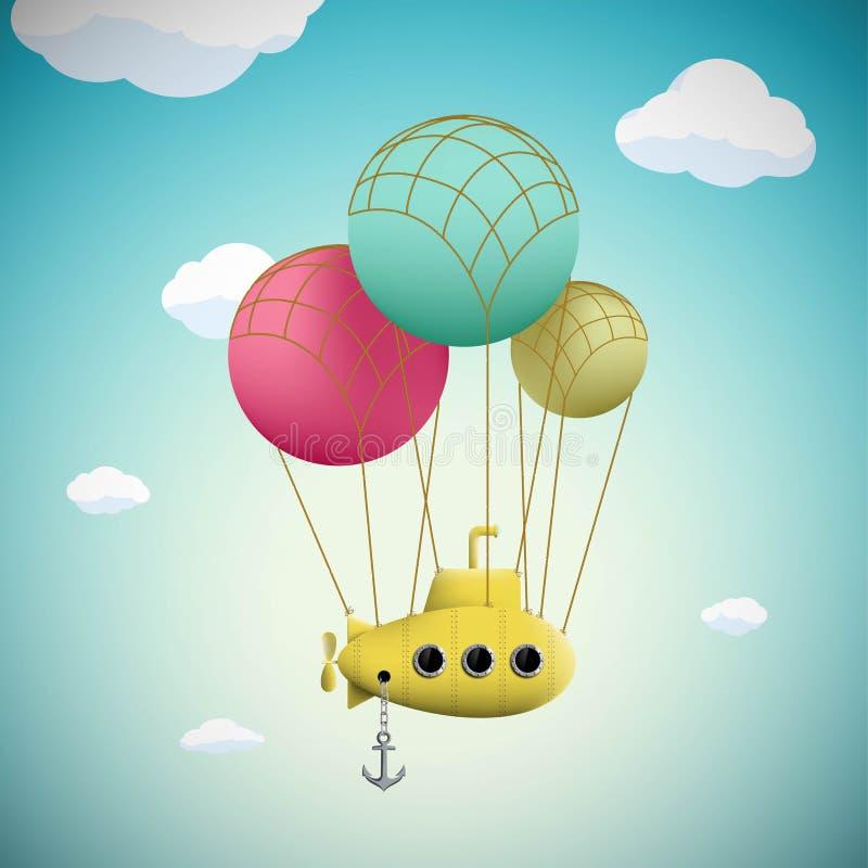 Onderzeeër op de ballons die in de hemel vliegen Voorraadfantas royalty-vrije illustratie