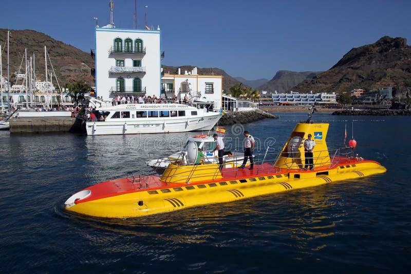 Onderzeeër in Puerto DE Mogan, Gran Canaria, Spanje stock foto's