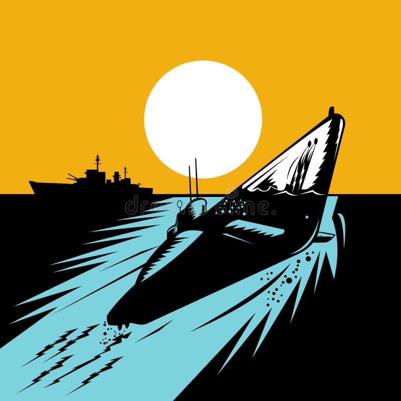 Onderzees opduikend slagschip stock illustratie