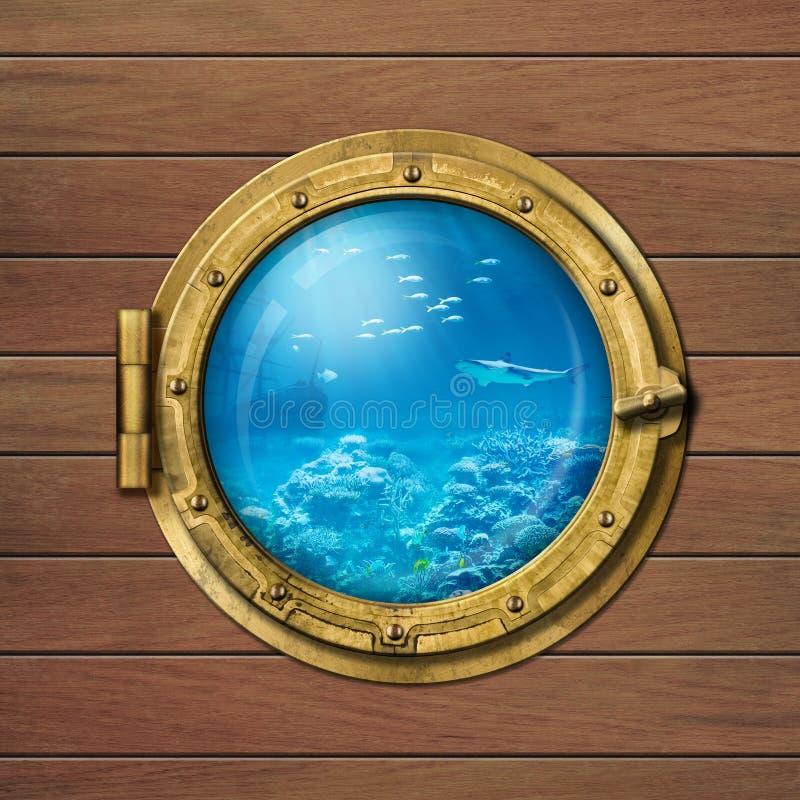 Onderzeese patrijspoort onderwater royalty-vrije stock fotografie