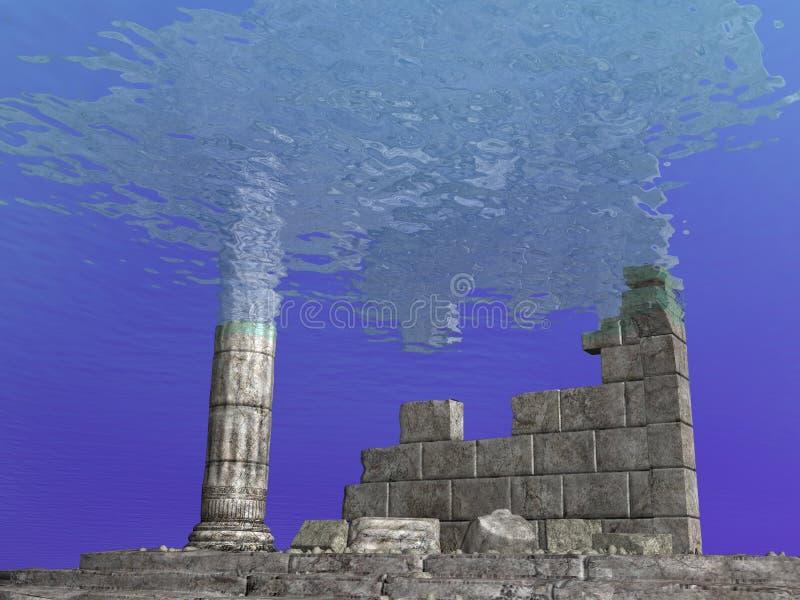 Onderzeese Ruïnes vector illustratie
