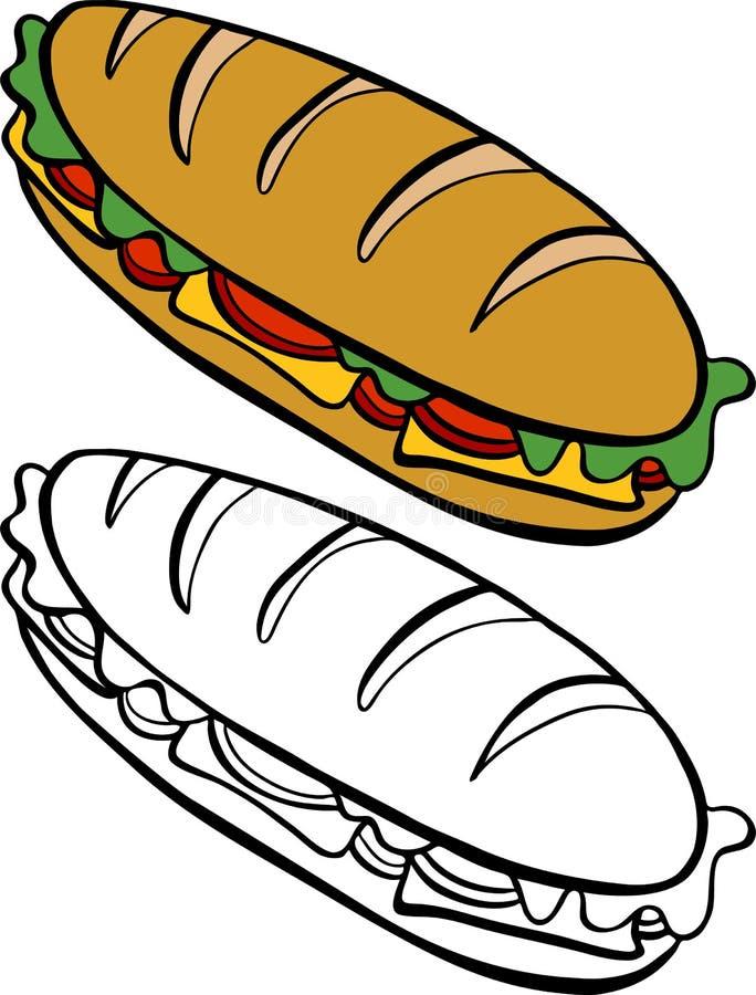 Onderzeese Sandwich vector illustratie