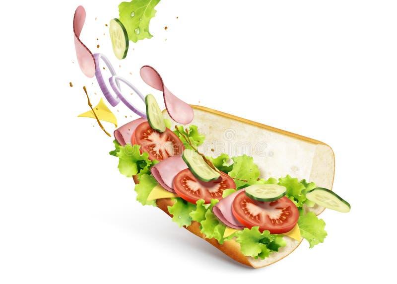 Onderzeese sandwich met vullingen stock illustratie