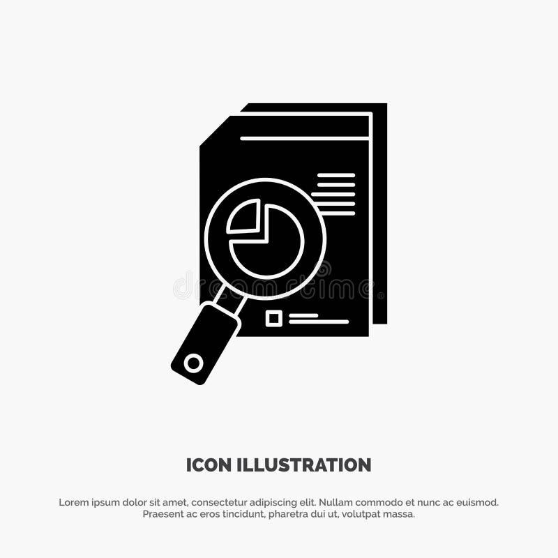 Onderzoek, Analitische Analyse, Analytics, Grafiek, Gegevens, het Pictogramvector van Grafiek stevige Glyph stock illustratie
