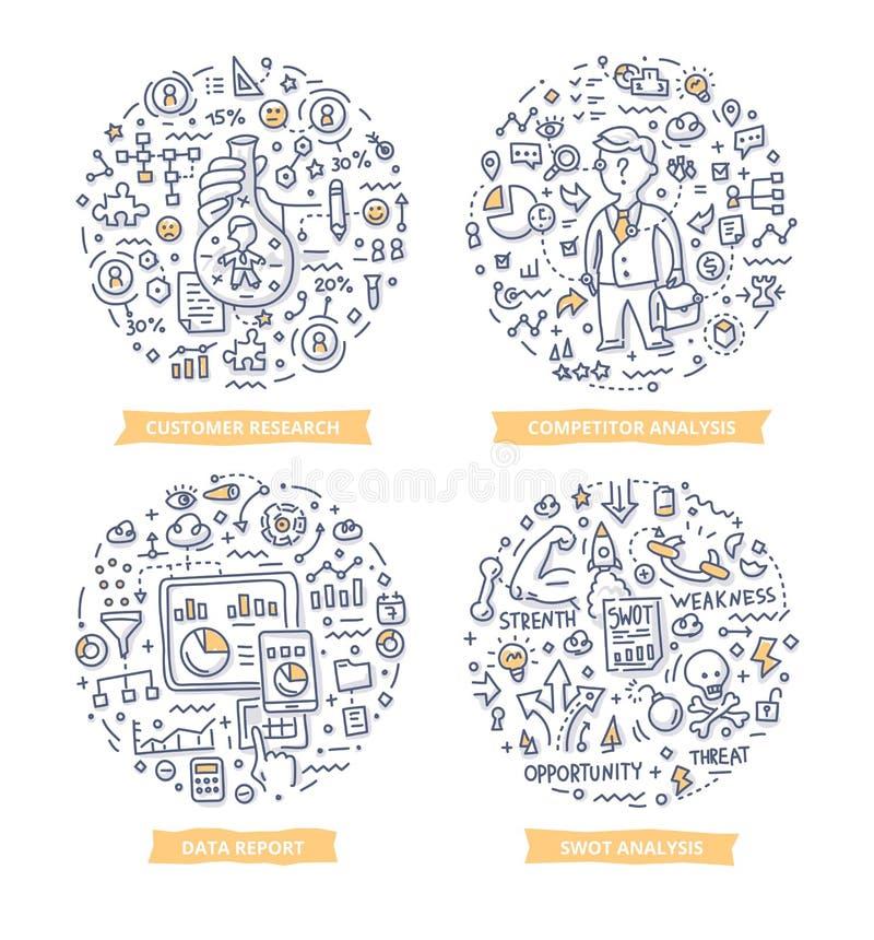 Onderzoek & Analysekrabbelillustraties vector illustratie